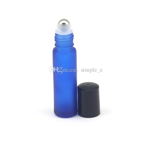 BLUE 10ml 1/3OZ ROLL ON Frosted GLASS BOTTLE ESSENTIAL OIL stainless steel Roller ball fragrance PERFUME bottle by DHL