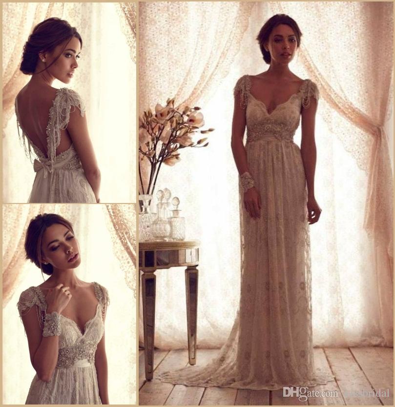 Discount Vintage 2015 Anna Campbell Wedding Dresses V Neck Beaded ...