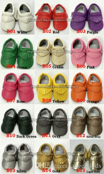Baby Shoes 36 Style For Choose Baby Soft PU Leather Tassel Moccasins Girls Bow Moccs Baby Booties Toddler Solid Colour Tassel Shoes Moccasin