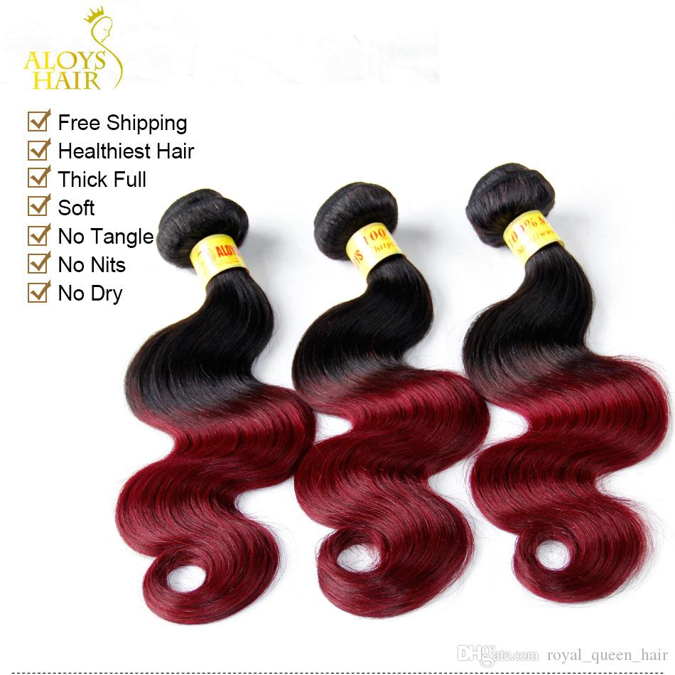 Extensiones de cabello humano de la Virgen de la onda mamaria de Ombre 2 Dos tonos 1B / 99J Borgoña de Malasia de vino rojo Paquetes de armadura de cabello humano Remy natural
