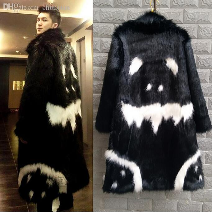 2018 Fall 2015 New Men'S Winter Faux Fur Jacket Black Gown White ...