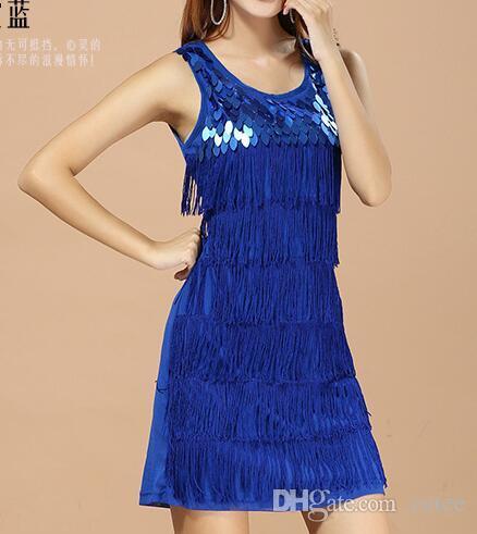 Женщины Sequined бахромой 1920-х годов Хлопушки кисточкой рукавов Straight Танк платья Цвет синий, серый, белый, розовый, красный, черный, фиолетовый, оранжевый