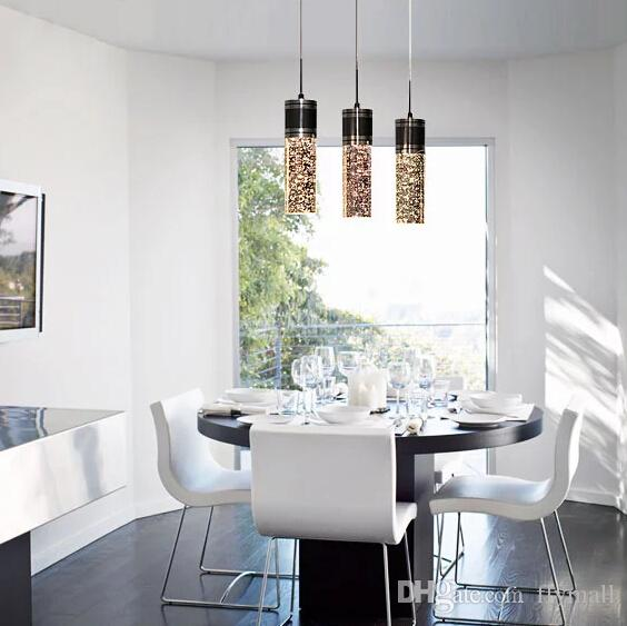 Modern Brief Crystal Pendant Lamp Bubble Crystal Light with LED Bulb Cylinder Shade Droplight Chandelier Ceiling Light Bar Dining Room Light