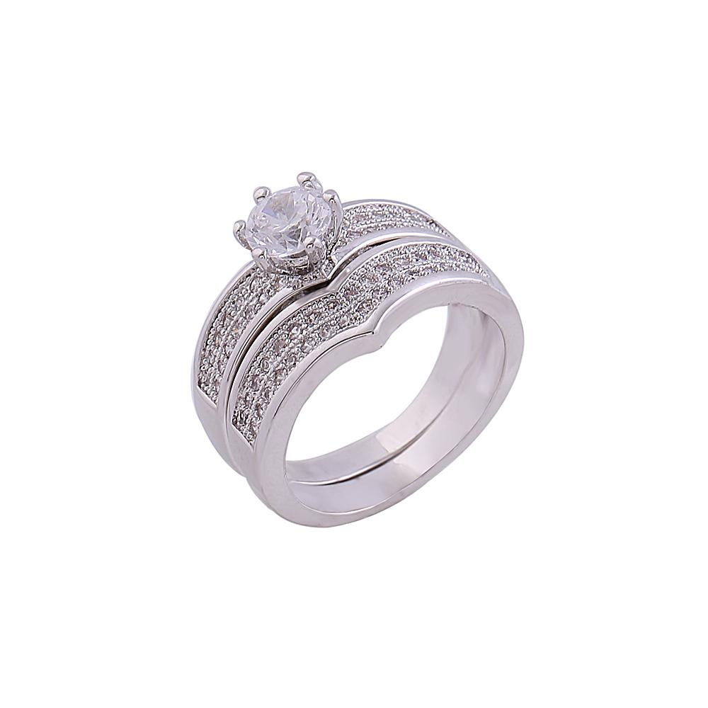 2017 White Gold Couple Rings Bridal Jewelry Latest Design Promise ...
