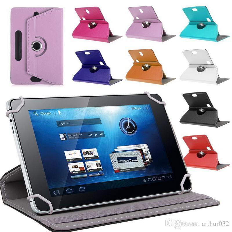 Funda de cuero con lengüeta 360 grados Girar cubierta protectora del soporte para la tableta universal de Android Plegado Flip Funda incorporada en la tarjeta Hebilla 7 8 9 10 pulgadas