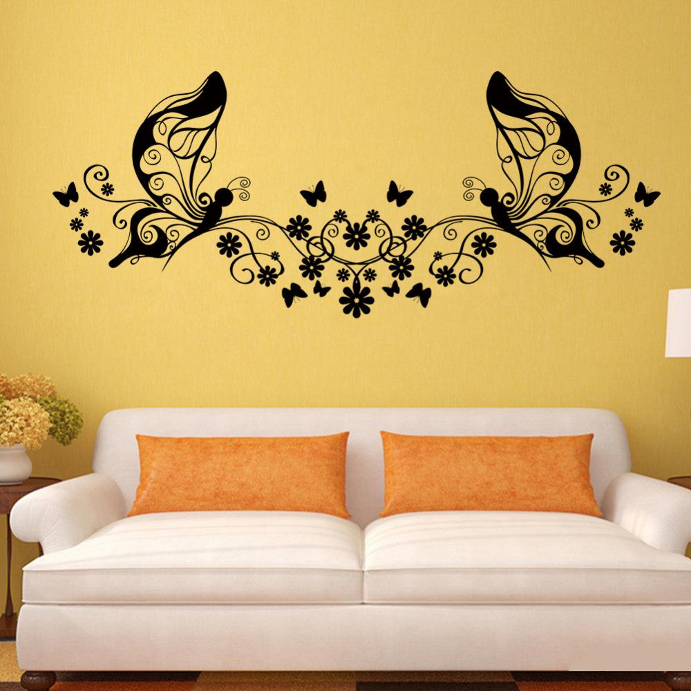 Black Butterfly Flower Vine Wall Stickers For Bedroom Living Room Tv ...