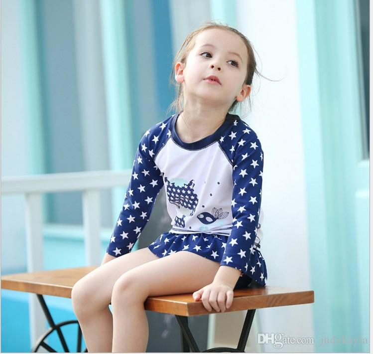 2018 Baby Girls Summer Swimwear Kids Stars Printed Cartoon Swimsuit Baby Long Sleeve T-shirt Tops+Tutu Skirt +Hat set Girl Swim Clothes