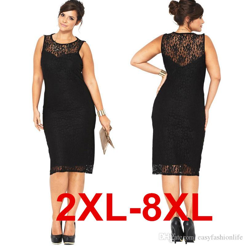 2xl 8xl Plus Size Women Dresses Crew Neck Sleeveless Slim Bodycon ...