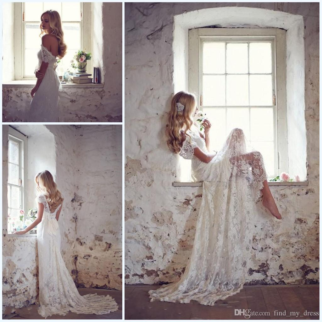 Sparkly Backless Elegant Vintage Lace Empire Wedding Dresses Off Shoulder Bow Sash Long Court Train New Bridal Gown Custom Made W619