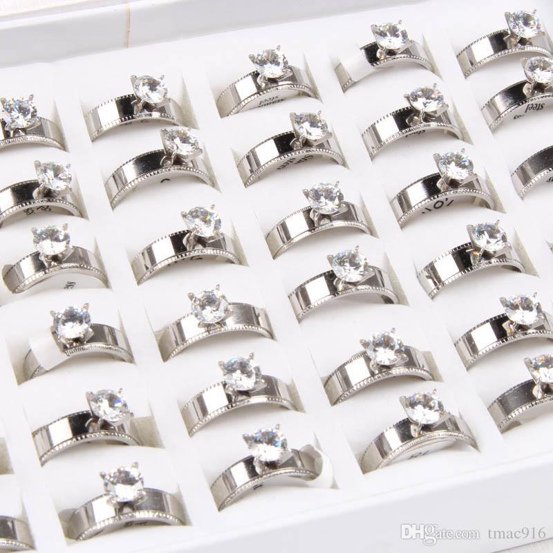 Новый Оптовая 36 шт. mix размер женщин покрытием из нержавеющей стали кольцо мода комплект ювелирных изделий шнека кольца weding кольцо подарок бесплатная доставка