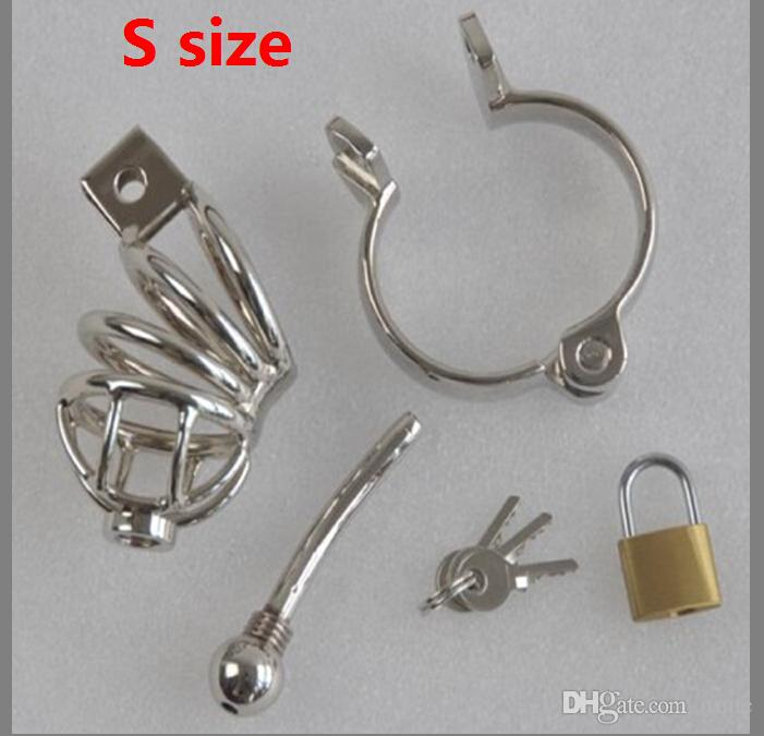 L/S Stainless Steel Penis Ring Male Chastity belt Device Cock Cage with catheter Men penis prison with padlock CB BE00304