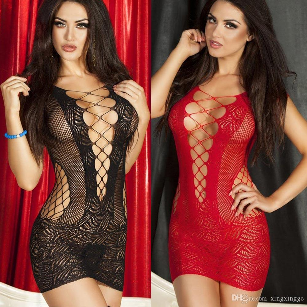 Women Sexy Lingerie Hot Crochet Mesh Hollow Out Baby Doll See ...