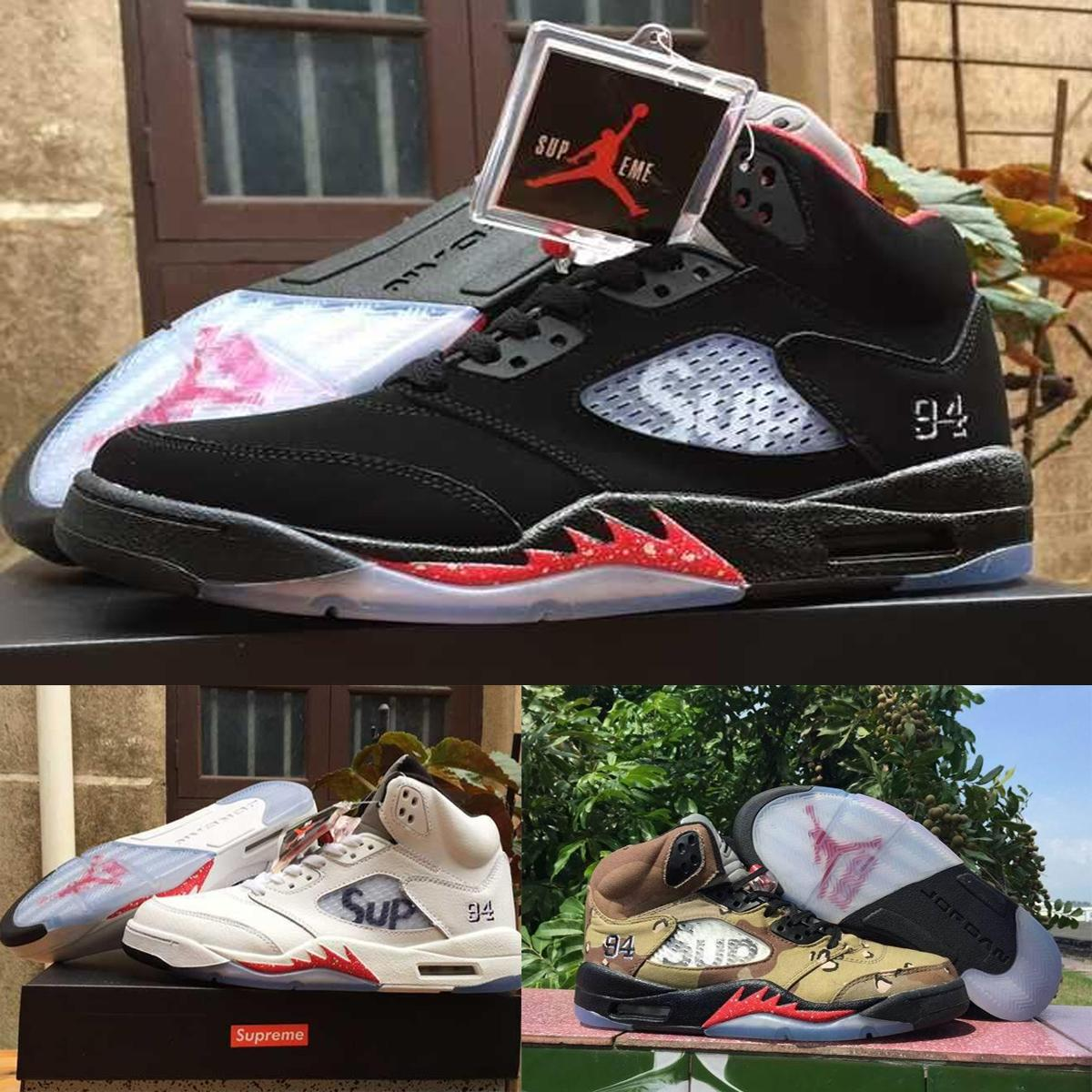 742f17067e0 Nike Air Jordan 5 Supreme Retro V Sup 5S Desert Camo Black White Mens  Basketball Shoes