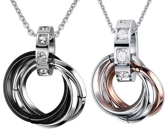 Nouveau Design Sweet Lovers 'Couple Noir Rose Or En Acier Inoxydable Rond Anneau Style Collier Pendentif Sparking Cristaux CZ Femmes Hommes
