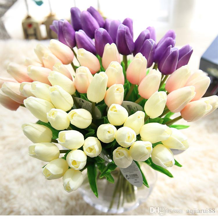 2 Bouquets Wholesale 6 Head PU Tulip Flower Bouquet Simulation Home ...