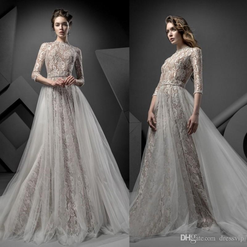 3910ba32b22 Купить Оптом Ersa Atelier Vintage Свадебные Платья С Бесплатными Свадебными  Вуальками Полный Кружевной Аппликационный Бусины Элегантный Плюс Размер ...