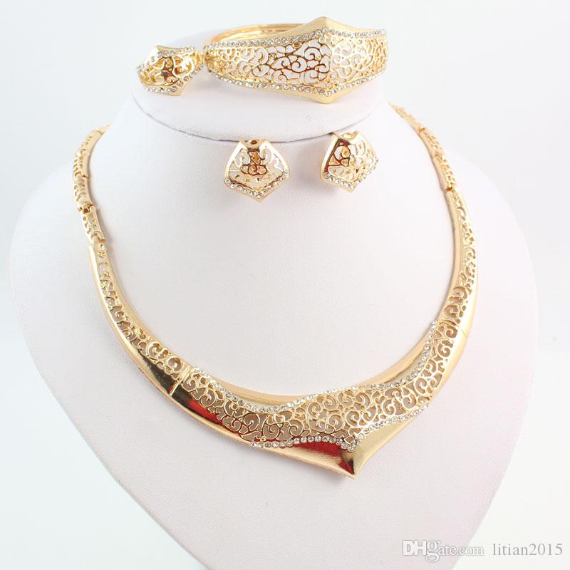 Women Party Gold Plated African Beads Jewelry Sets Crystal Pierced Necklace Bangle Earrings Ring Wedding Dress Accessories