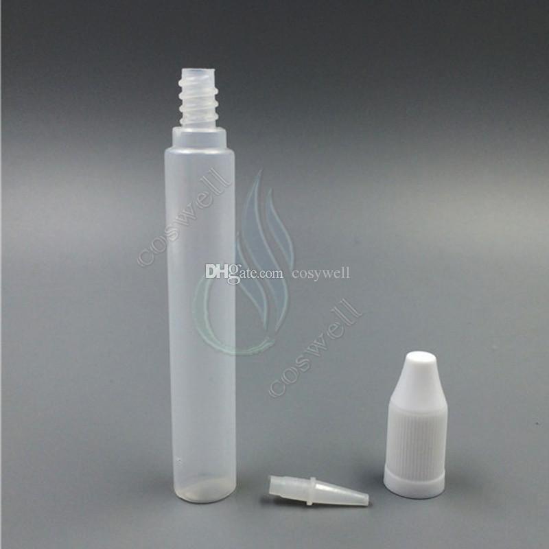 أعلى جودة 15ML 30ML القلم الشكل ه السائل زجاجة بالقطارة البلاستيك PE PET Eliquid طويل ه السائل زجاجات عصير Vape والدليل على زجاجات ه السجائر