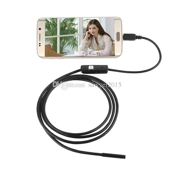 5.5mm 2M HD Endoscopio Mini USB Cámara a prueba de agua 720 P Inspección de boroscopio Alcance 6 LED blanco Tubo de serpiente para PC Android