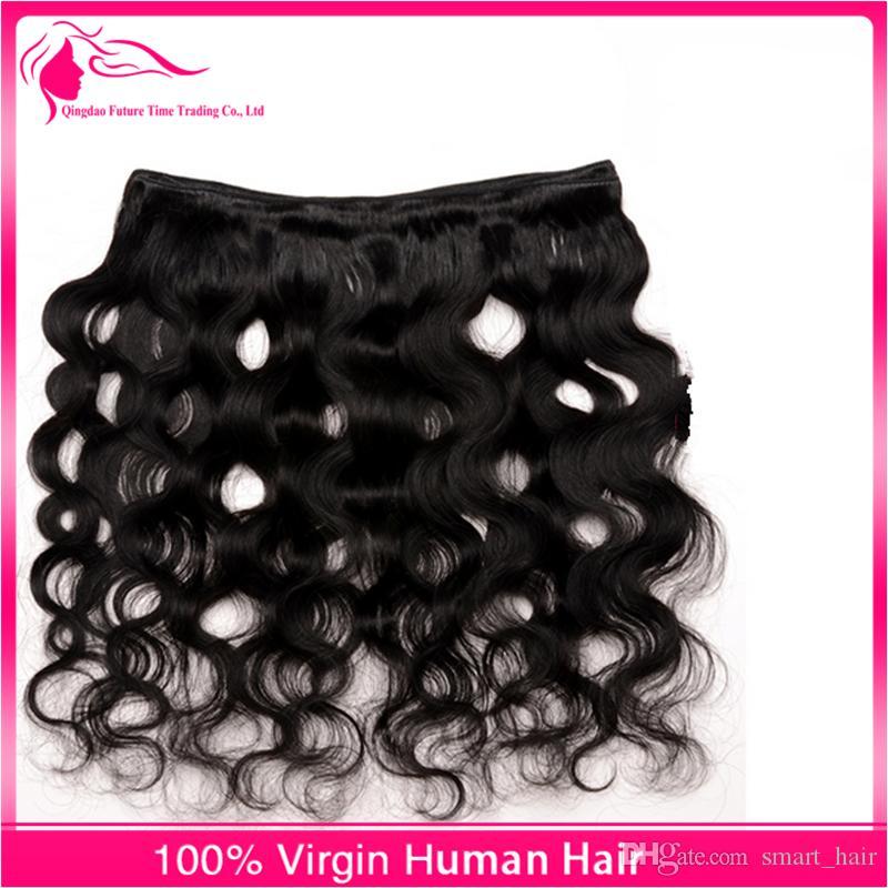 حزم الجسم موجة الشعر مع الأذن إلى الأذن الرباط أمامي مع شعر الطفل 4 قطع / لوط شعر الإنسان ينسج طبيعة اللون