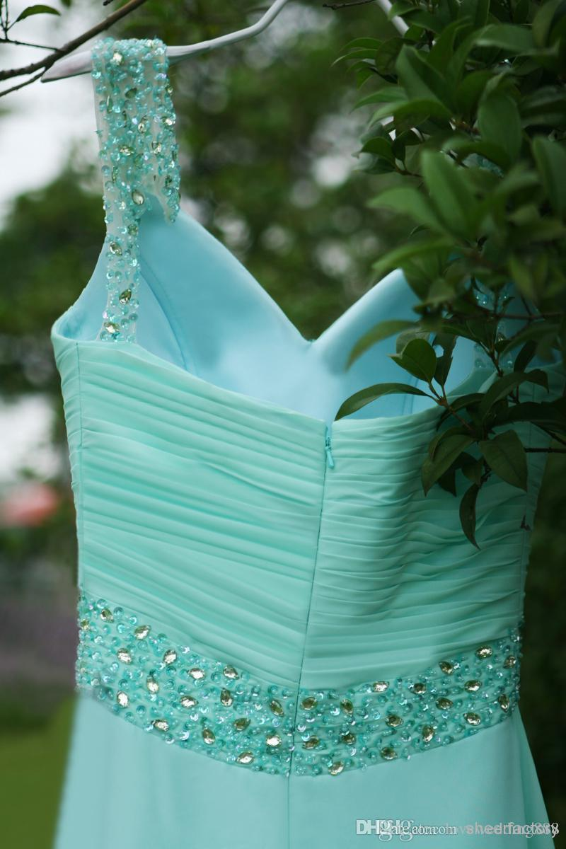 Cheap Mint Green Chiffon A Line Bridesmaid Dresses Spaghetti Off Shoulder Pleated Bodice Crystals Beads Floor Length 2019 Party Prom Gowns