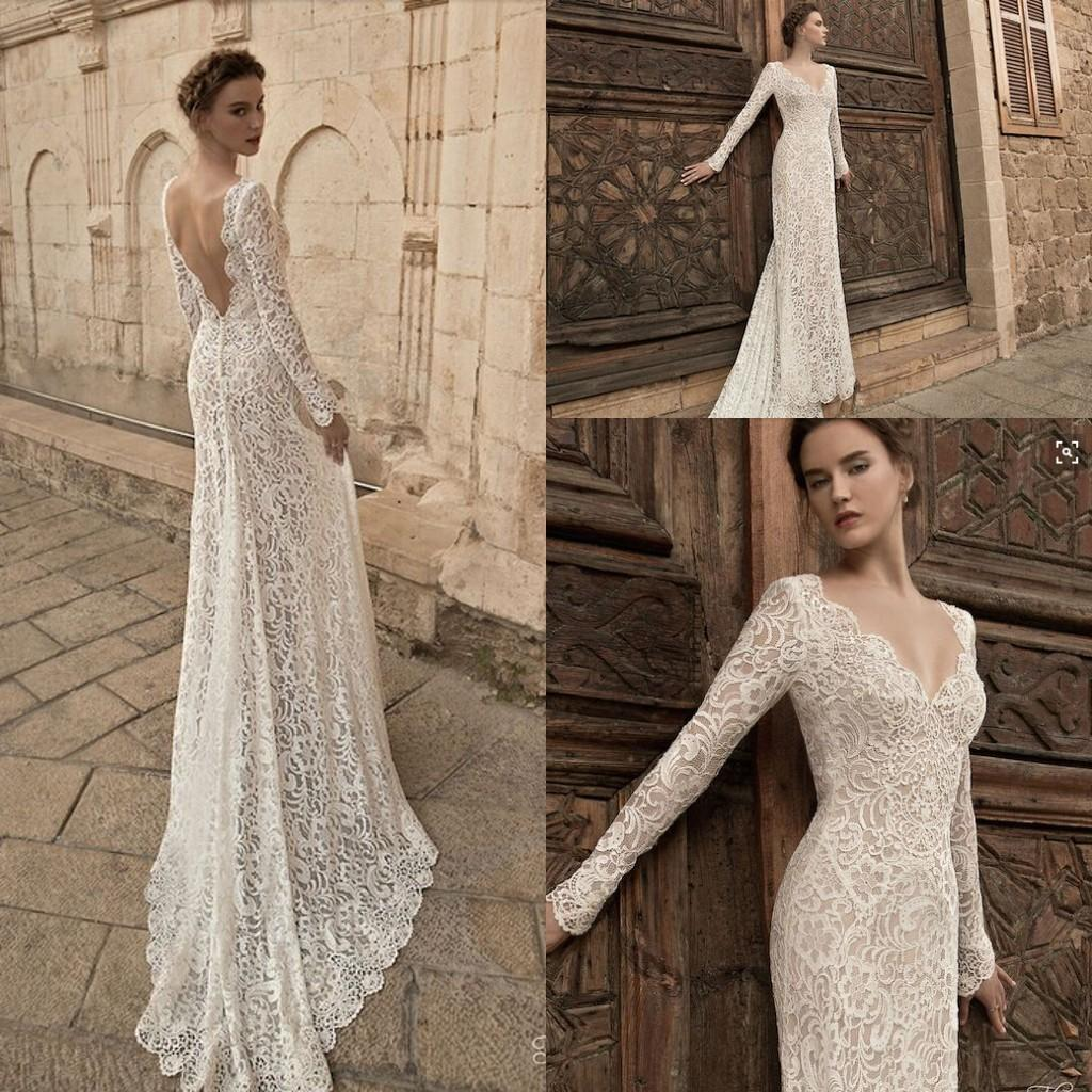 Backless Wedding Gowns: Sheath Mermaid Lace Backless Wedding Dresses Long Sleeves