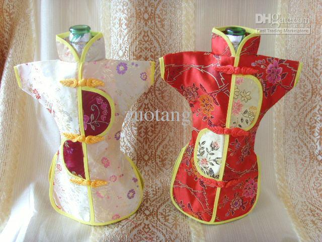 Classic Vintage China style Wine Bottle Clothing Party Table Decoration Silk Brocade Wine Bags mix Color