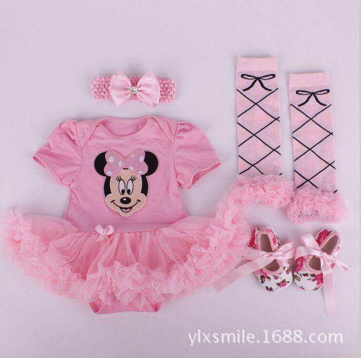 Xmas Baby Girl Infant 4pcs Clothing Sets Leg warmer Santa Clause Tutu Romper Dress/Jumpersuit Christmas Bebe Birthday Costumes Vestidos
