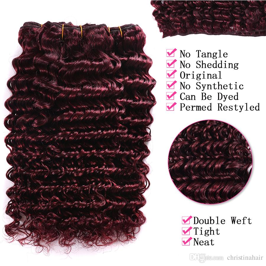 99J Wine Red Brazilian Human Hair Weave Deep Wave With Lace Closure Brazilian Deep Wave Hair 3 Bundles With 4x4 Lace Closure