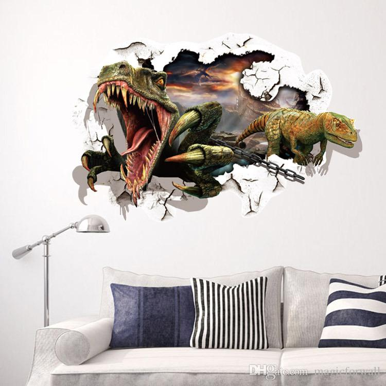 dinosaur breaking out of the wall to escape 3d wall decal stickers
