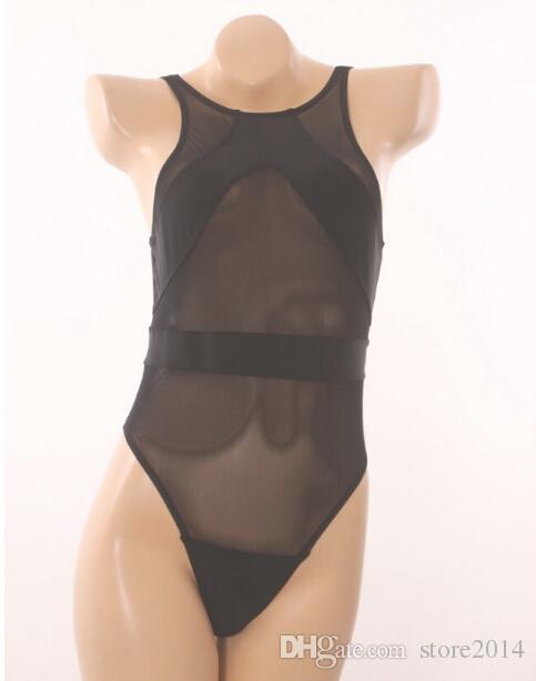 حار بيع جديد مش أسود قطعة واحدة ملابس السباحة مثير انظر من خلال بيكيني المايوه خمر المايوه
