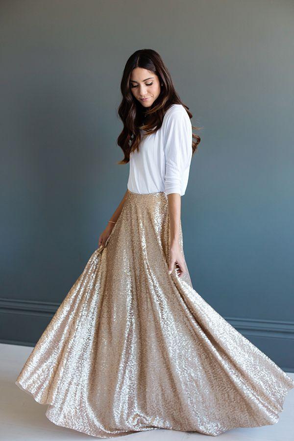 Babados Champagne Sequins Maxi vestidos lindos A linha de saia longa Brilhante Saias inverno por Mulheres Pesado Top Quality saia plissada