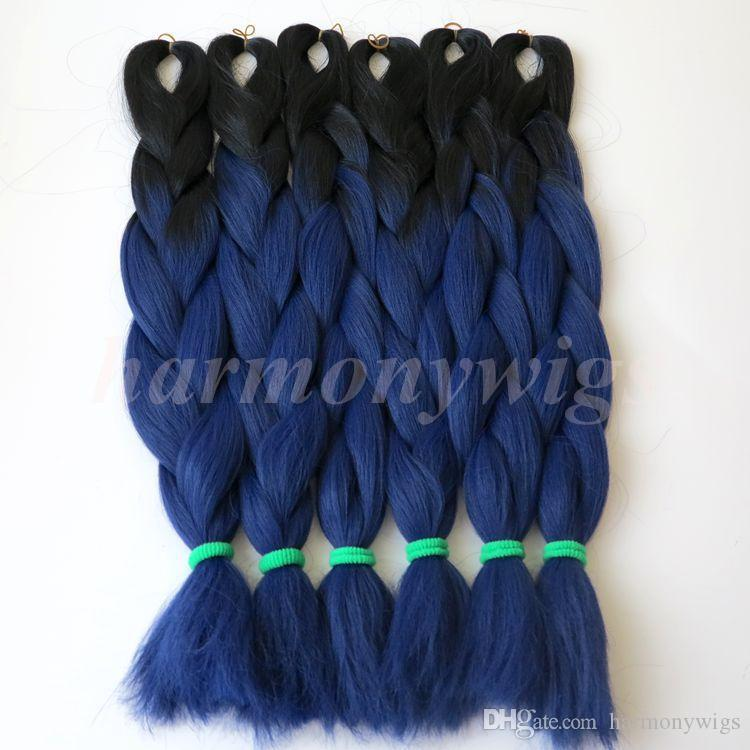 Fashion color Kanekalon Synthetic Braiding Hair 24inch 100g Black&T2511 Ombre Two Tone Color Jumbo braids Hair Extensions Optional
