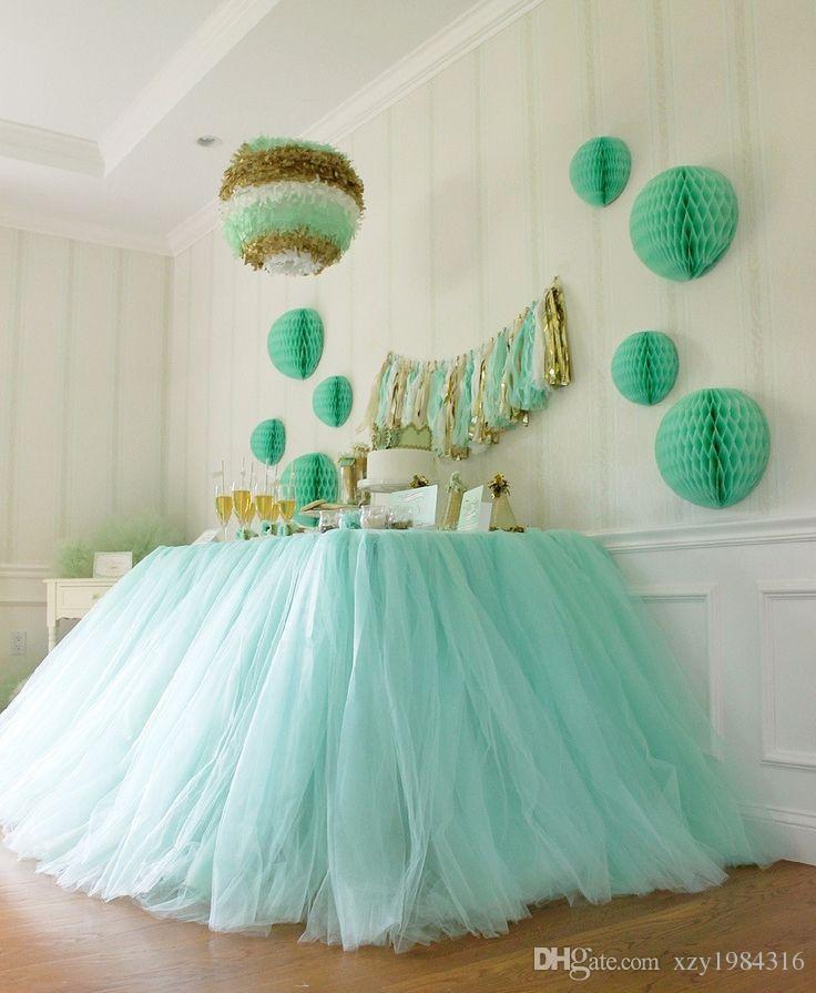 100*80cm Mint Green Tulle Table Skirts Wedding Tutu Table Decoration Cheap Creative Baby Showers Custom Made Birthdays Party Decor