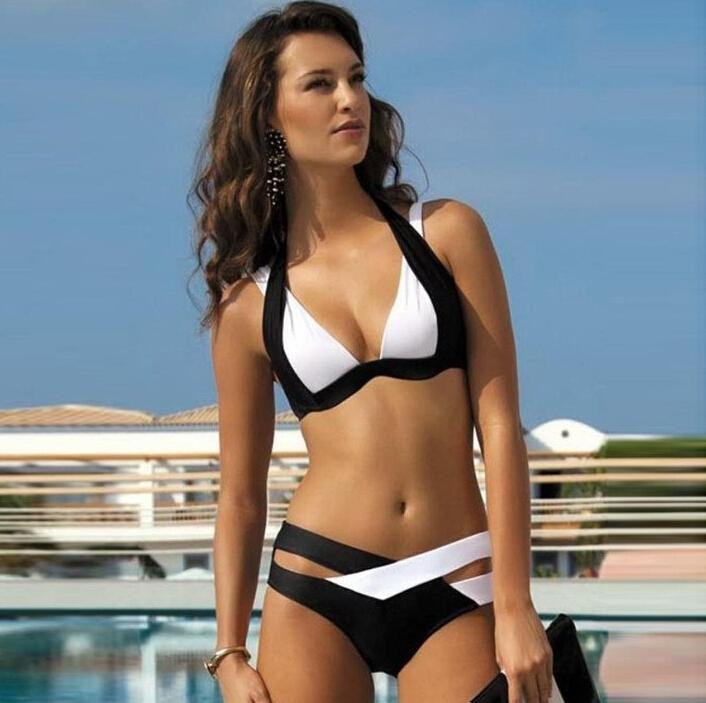 Hot Sale Bikini Set For Women Bikinis Push Up White Black Patchwork Swimwear Sexy High Waisted Swimsuit Padded Bra Triangle Swimwear