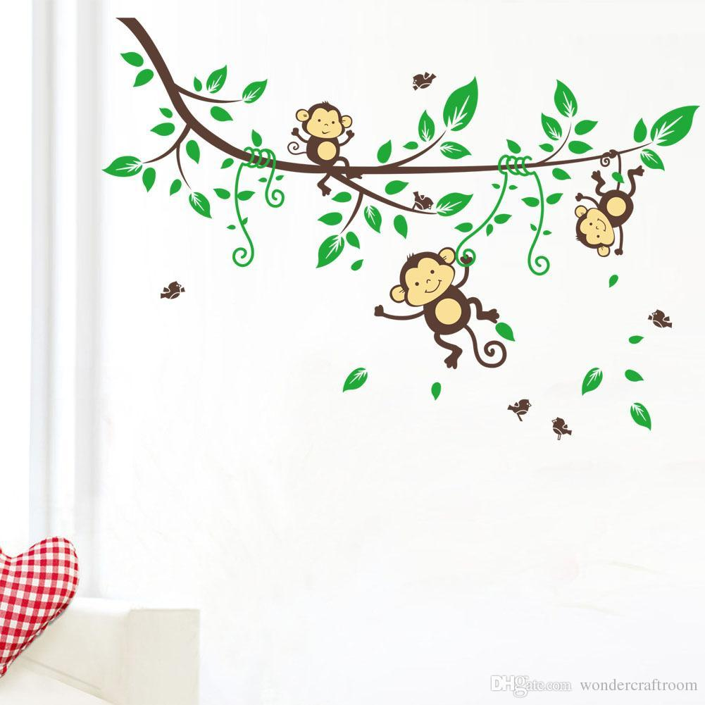 Cartoon Monkey Art Wall Sticker Removable PVC Vinyl Wall Stickers Wall Decal For Baby Kids Bedroom Decoration