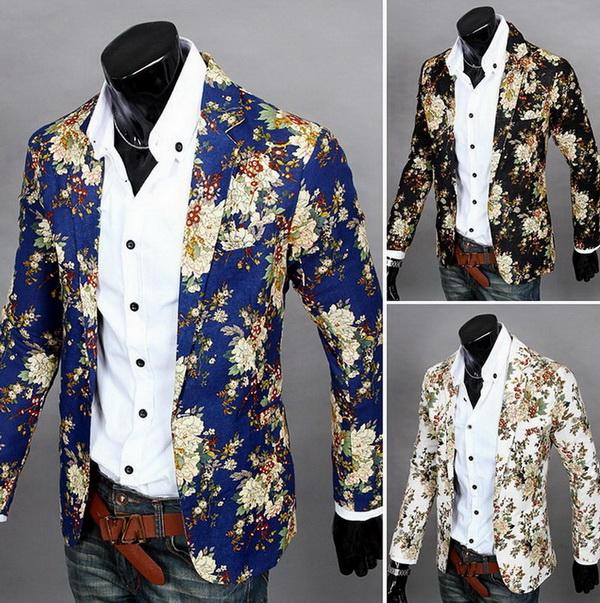 Fashion Men Blazer Jackets Mens Slim Fit Printed Blazers Casual ...