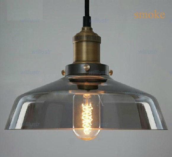Smoke Color Glass Pendant Light Vintage Pendant Lamp Clear