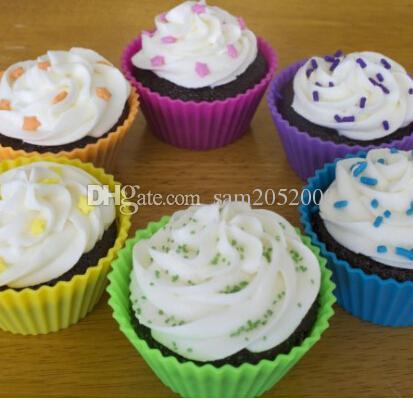 ¡Gran venta! Forma redonda Silicona Muffin Cupcake Molde Molde para hornear Bandeja de moldes Bandeja para hornear Copa Liner Moldes para hornear