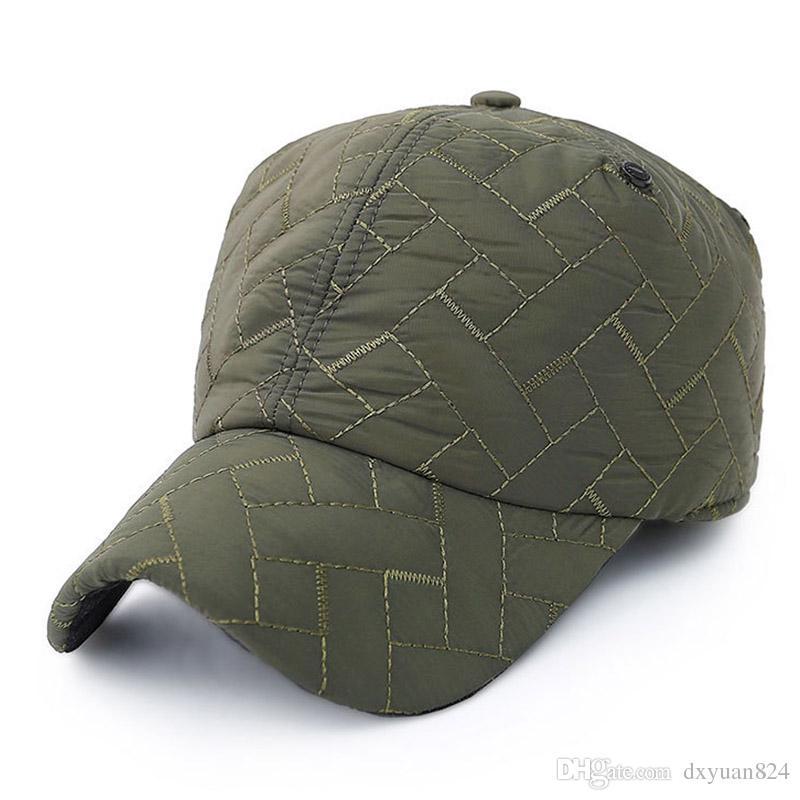 Fashion Plaid Winter Mens Warm Baseball Cap Adjustable Thick Earflap ... e5b72abac71f