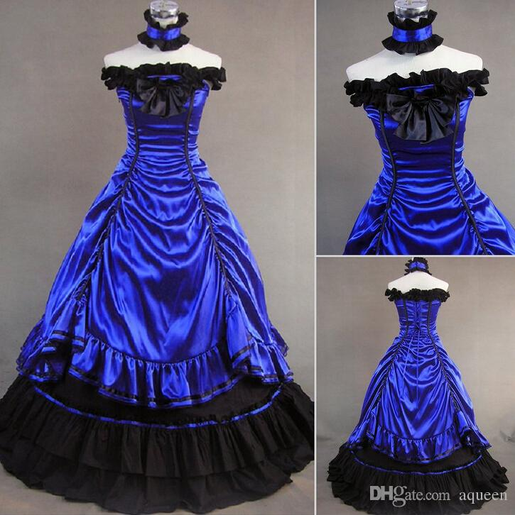 Royal Blue Colonial Civil War Southern Belle Gothic Victorian ...