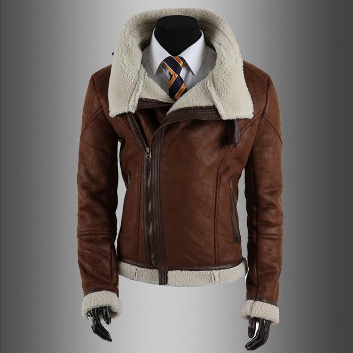 Schwarz   Braun Kunstleder Motorrad Jacke Mens Fashion Herren Mantel Winter  Lederjacke Faux Fur Slim Fit Lederjacken für Männer c2255e9d0c