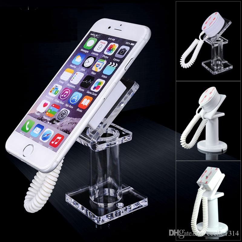 50pcs Acrylic mobile phone security display stand holder with retractable cable anti-theft for all handhelds exhibit mp3 controller etc