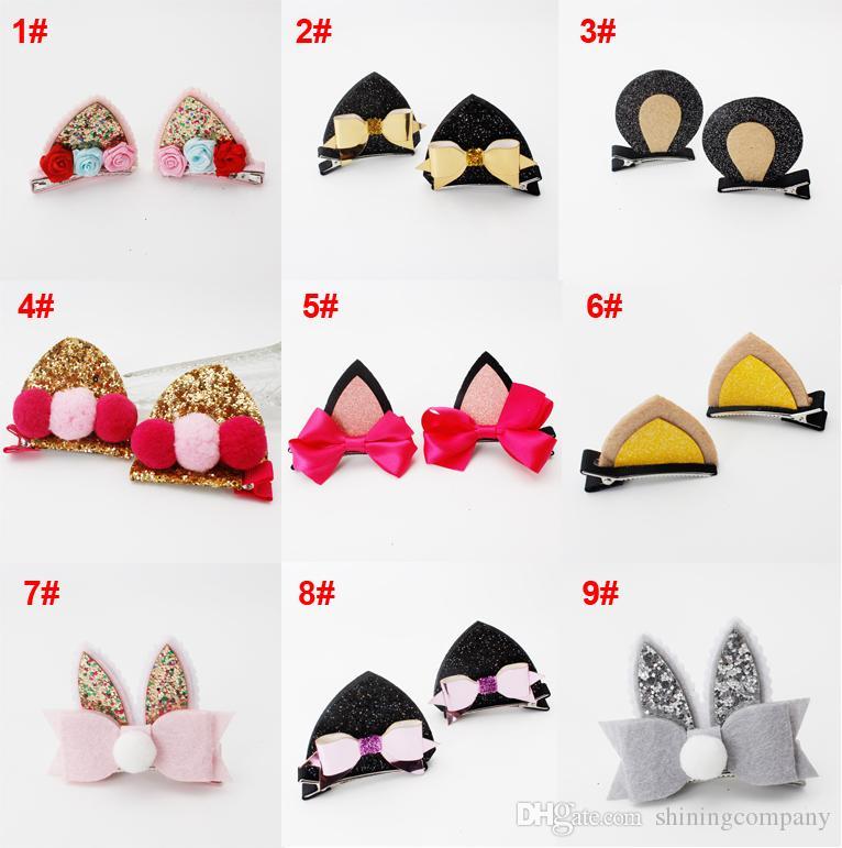 15 Designs Fashion Girls Hairpins Handmade Cute Wool Felt Cat Ears Hair Clips Girls Barrettes Children Kids Hair Accessories