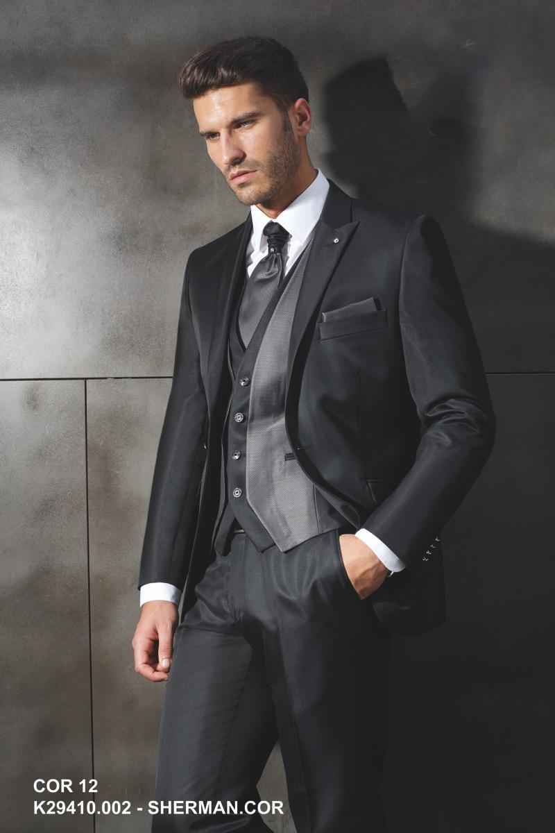 Black Suit Grey Vest - Go Suits