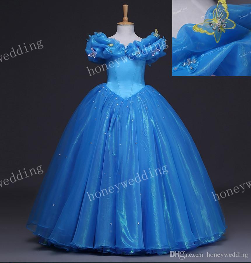 Bild Kleid 2015 Cinderella Großhandel Cosplay Kinder Reales YHIE2WD9