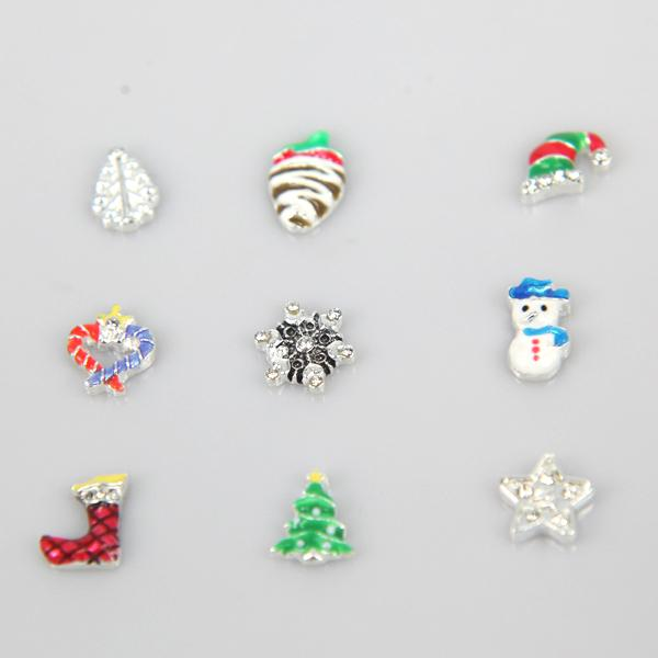 2018 New Arrival Lovely Mixed Christmas Alloy Floating Charms For