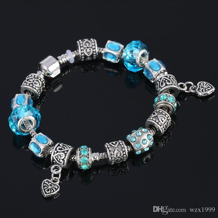 Neue Ankunfts-Herz-Charme-Armbänder für Frauen Pulseira 925 silberne Schmucksachen mit Blume China rot DIY Glasperlen Armband Spitzenverkauf 7 Farben
