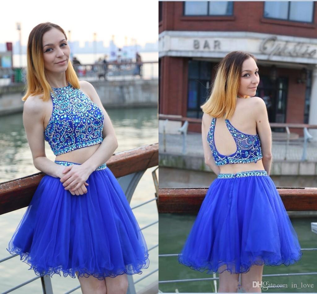 2 Pezzi Royal Blue Abiti Homecoming Backless Cristalli Diamanti Tulle Party Dress Brevi Abiti di Promenade vestido curto Formato Personalizzato