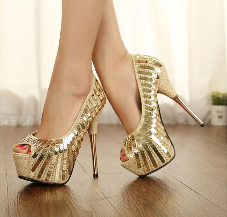 Gold Pumps High Heels Shoes For Women High Heels Thin Heels Pumps ...